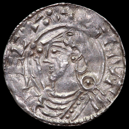 Cnut, 1016-35. Penny. Pointed Helmet Type. London Mint. Moneyer Leofpine.
