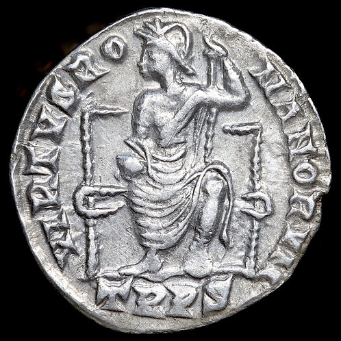 Gratian, 367-393 A.D. Silver Siliqua, Treveri (Trier) Mint. Roma Reverse.