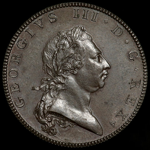George III, 1760-1820. Bronzed Copper Pattern Hafpenny, 1790. By Droz.