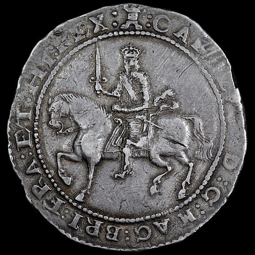 Charles I, 1625-49. Hammered Silver Crown, 1645. Exeter Mint. Mint Mark Castle.