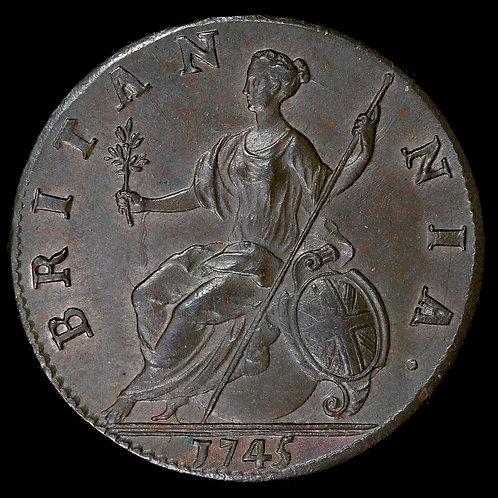 George II, 1727-60. Halfpenny, 1745. Trace Lustre.