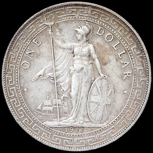 China, British Hong Kong. Silver Trade Dollar, 1911. Bombay Mint.