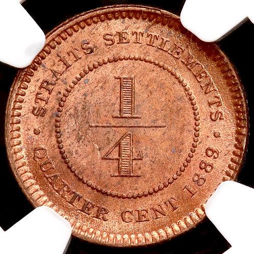 Straits Settlements. Victoria, 1837-1901. Quarter Cent, 1889. NGC Encapsulated.