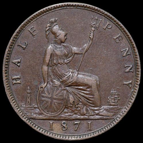 Victoria, 1837-1901. Halfpenny, 1871. Scarce