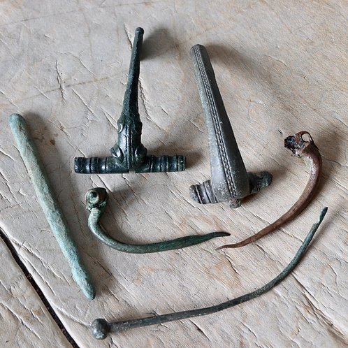Celtic Copper-Alloy Brooches, Roman Brooches, Hairpin And Stylus.