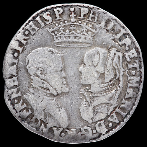 Philip Of Spain And Mary Tudor, 1554-58. Hammered Shilling, Undated. Scarce.