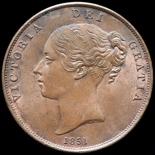Victoria, 1837-1901. Penny, 1851. OT DEF:, Close Colon.