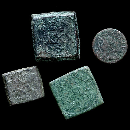 James I and Charles I. Copper-Alloy Coin Weights, 17th Century. (4 Coins)