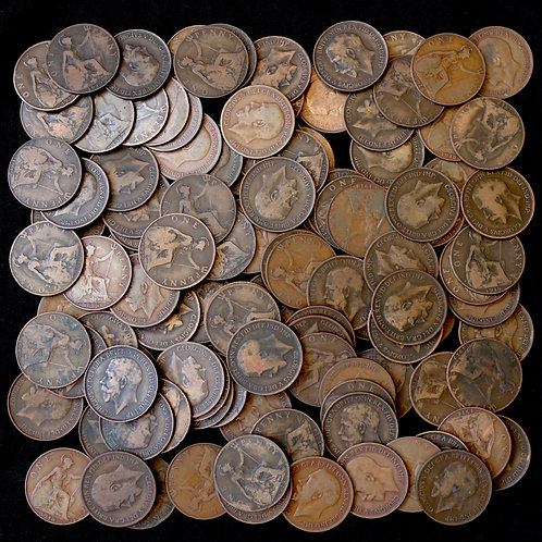 George V, 1911-36. Pennies, 1912H, 1918KN, 1918H, 1919KN, 1919H. (110 Coins)