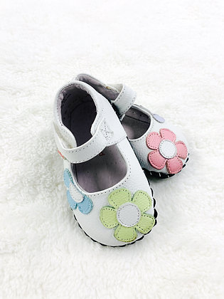 Pastel Leather Flowers White Pediped Soft Maryjanes