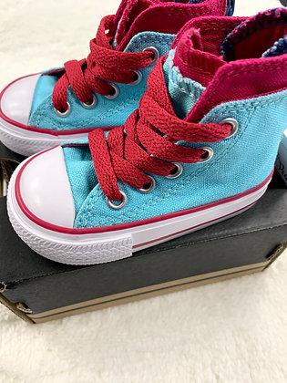 Sky Blue Hot Pink Converse Hightop Sneakers