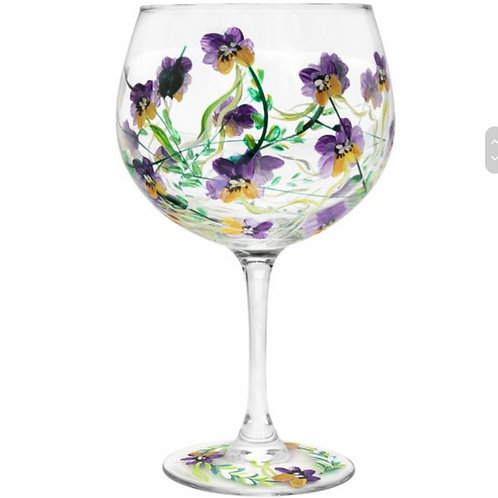 Hand Painted Pansies Gin Glass