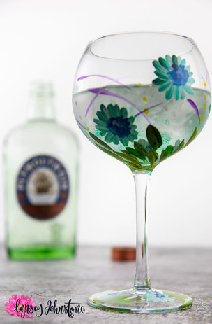 Hand Painted Gin Glass Blue Gerbera