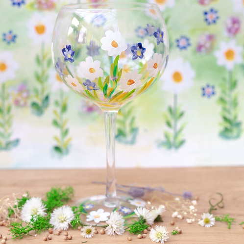 Hand Painted Daises Gin Glass