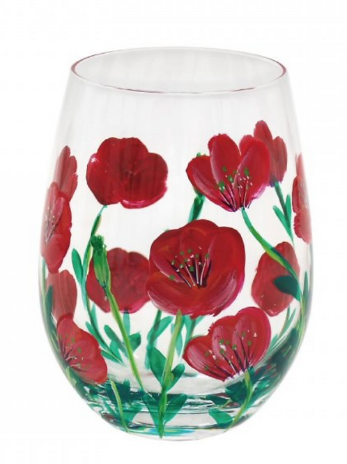 Red Poppies Stemless Glass