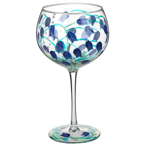 Hand Painted Bluebells Gin Glass
