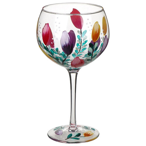 Hand Painted Tulips Gin Glass