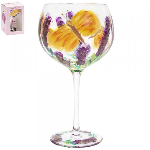 Hand Painted Butterfly Gin Glass