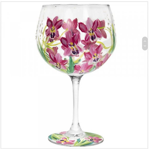Hand Painted Pink Orchids Gin Glass