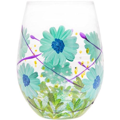 Blue Gerbera Stemless Glass