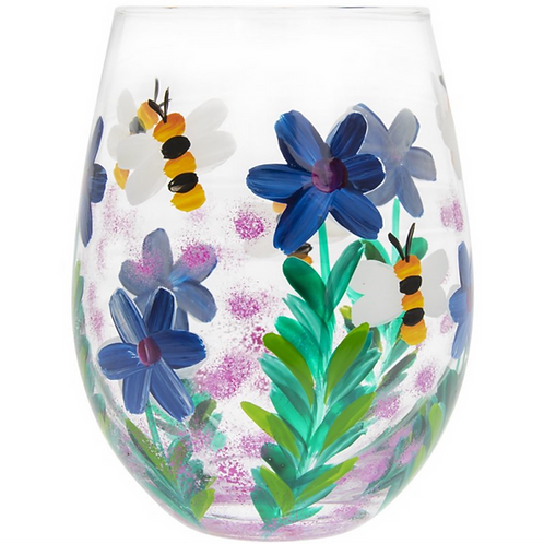 Wildflowers and Bees Stemless Glass