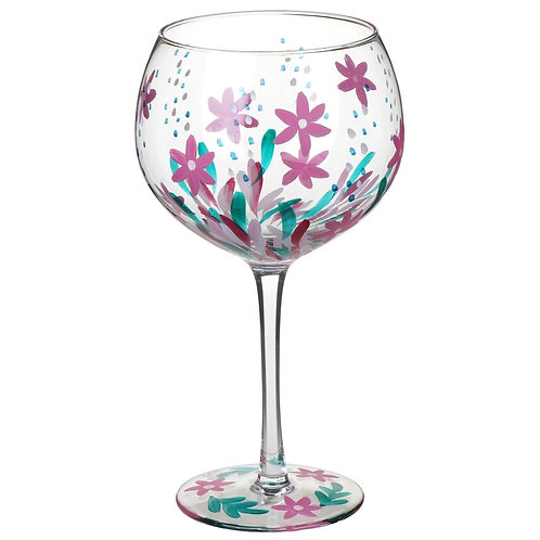 Hand Painted Pink Meadow Gin Glass