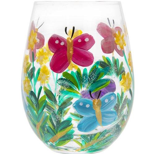 Small Butterflies Stemless Glass