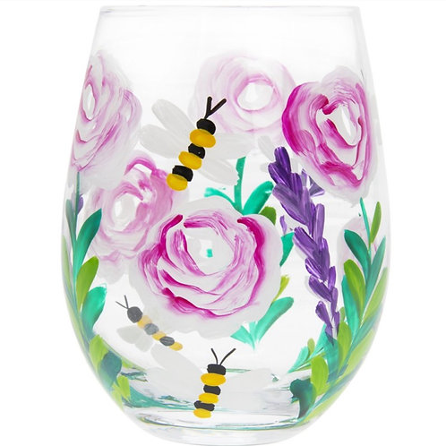 Pink Roses and Bees Stemless Glass