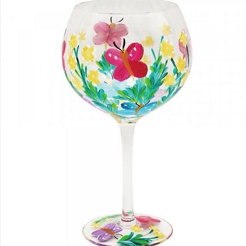 Hand Painted Pink Butterflies Gin Glass