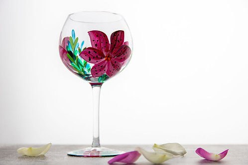 Hand Painted Lilly Gin Glass
