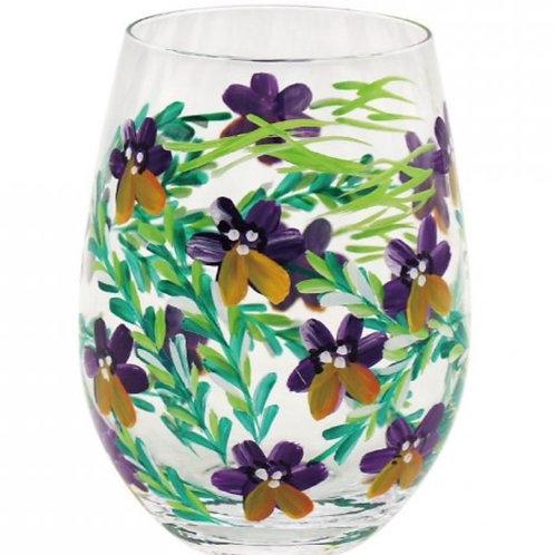 Pansies Stemless Glass