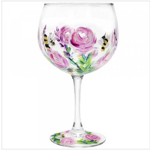 Hand Painted Bees and Pink Roses Gin Glass