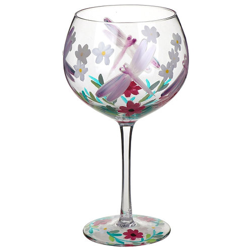 Hand Painted Dragonfly Gin Glass