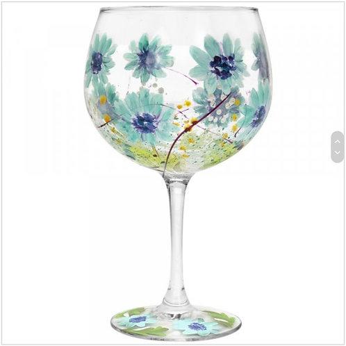 Hand Painted Blue Gerberas Gin Glass