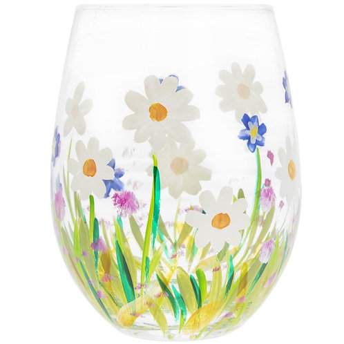 Dainty Daises Stemless Glass