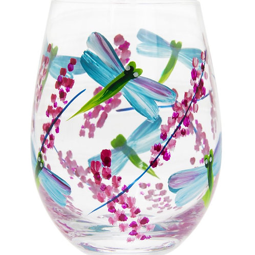 Dragonflies and Lavender Stemless Glass