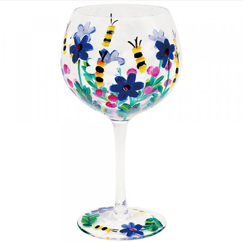 Hand Painted Wild Flower and Bees Gin Glass