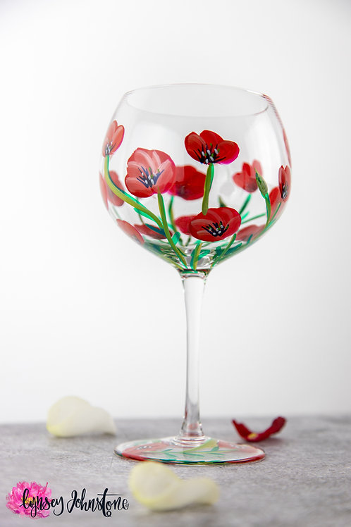 Hand Painted Poppies Gin Glass