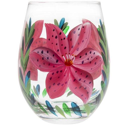 Pink Lillies Stemless Glass