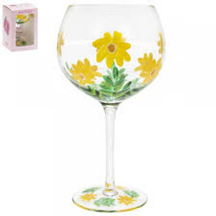 Hand Painted Yellow Daises Gin Glass