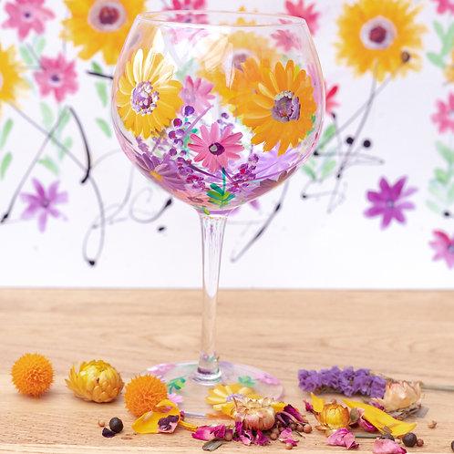 Hand Painted Sunflowers Gin Glass