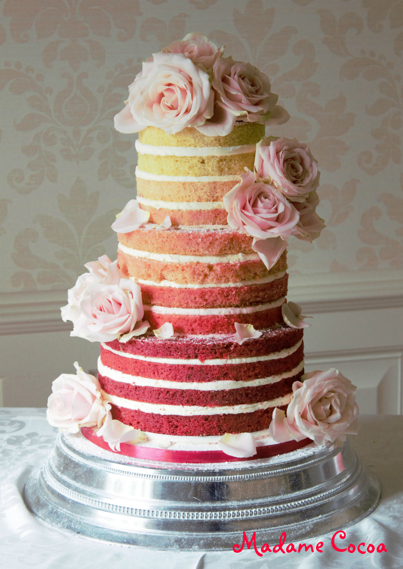 Ombre naked wedding cake