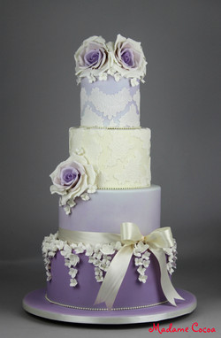 Lavender floral wedding cake