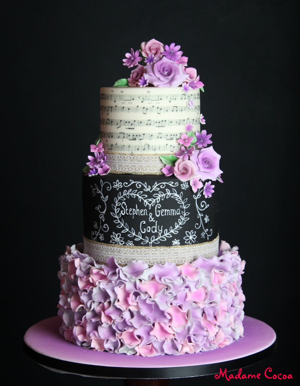 Chalk board wedding cake