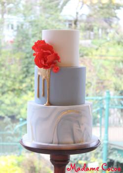 Blue marble wedding cake