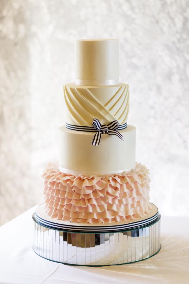 Pink ruffles wedding cake