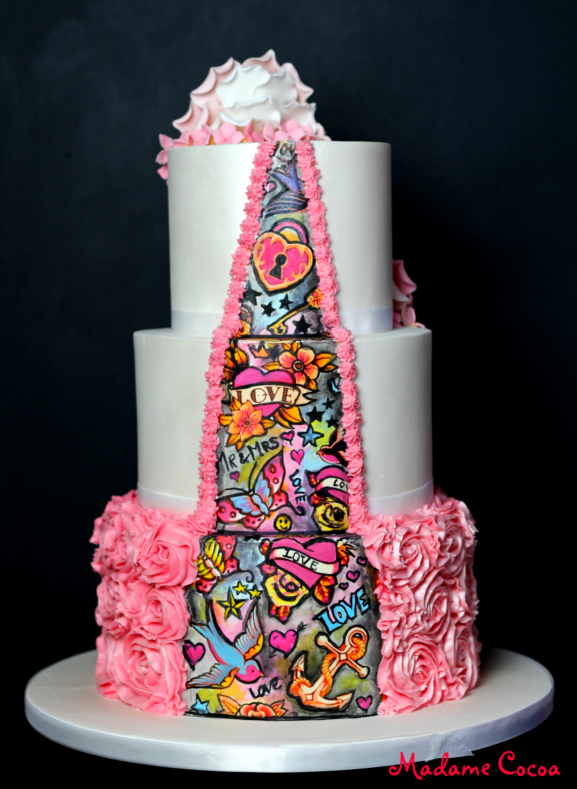 Pink tattoo wedding cake