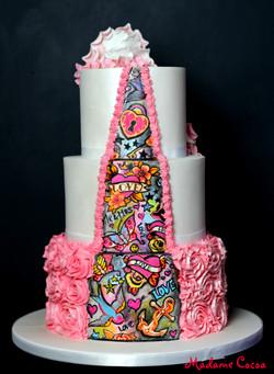 Pink tattoo wedding cake