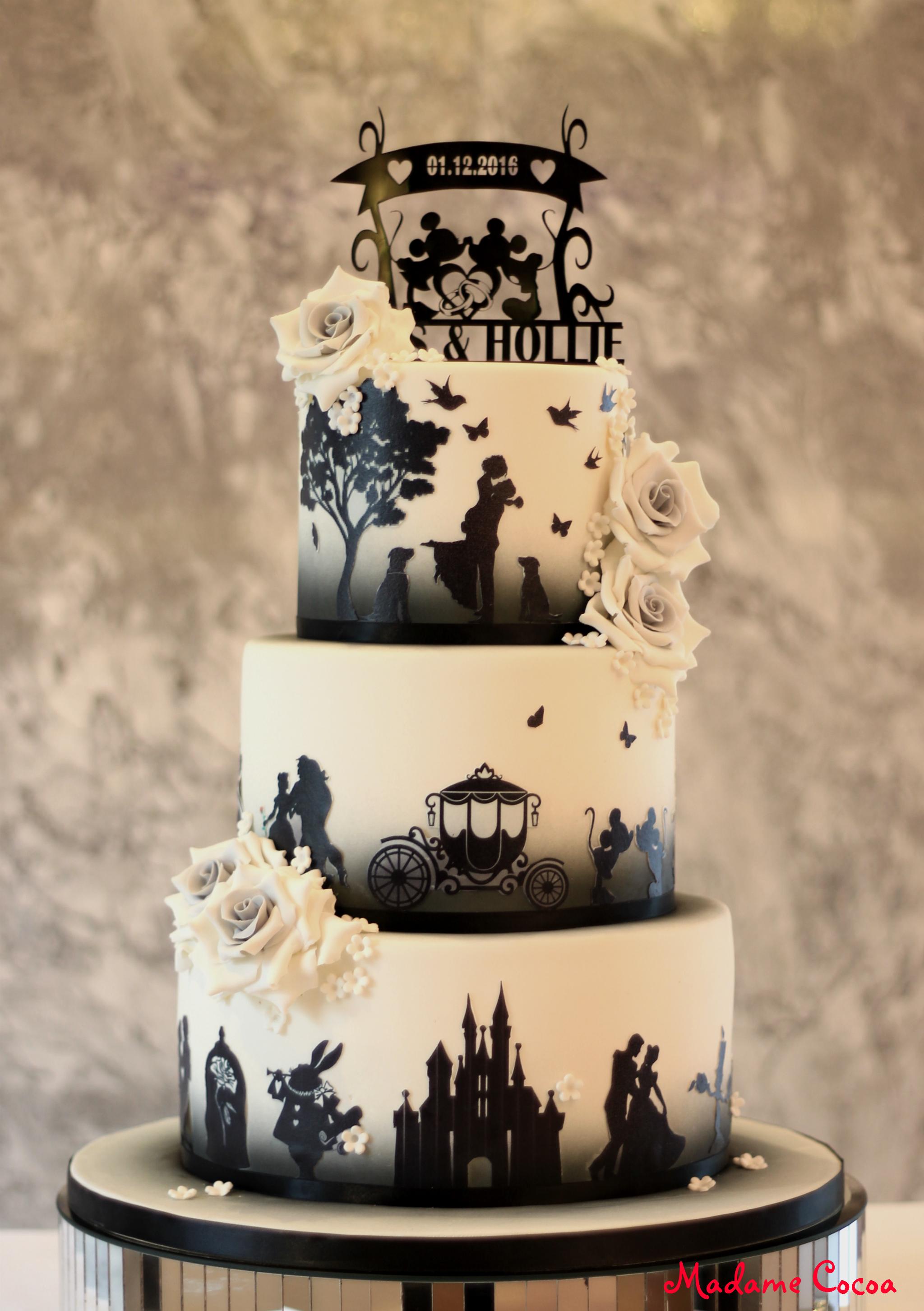 Disney silhouette wedding cake