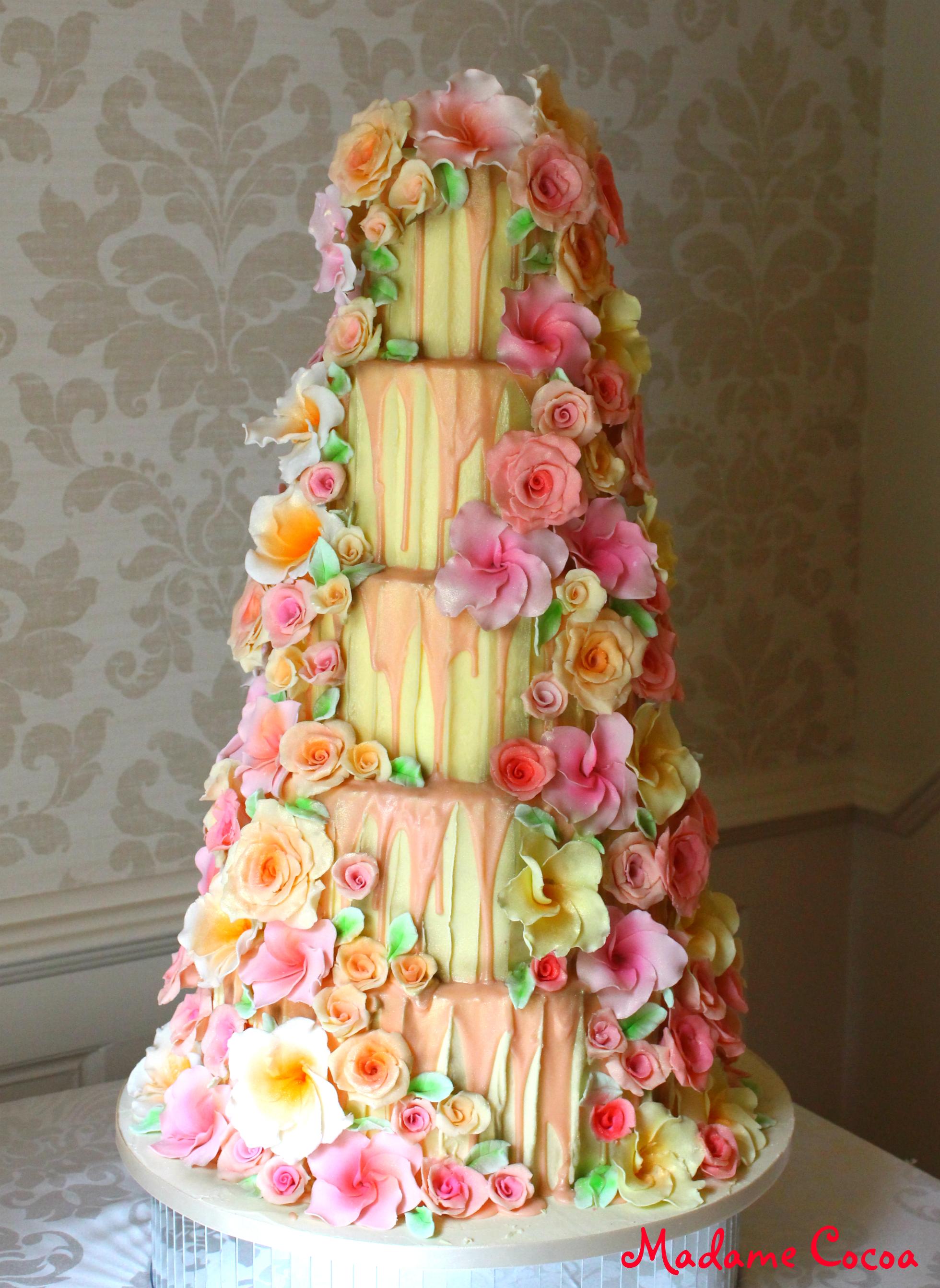 Chocolate floral wedding cake